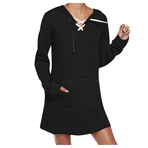 Buy Bargain Autumn Fashion Women Casual Long Sleeve Pure Color Hoodies Dress Hoodie Pullover Black