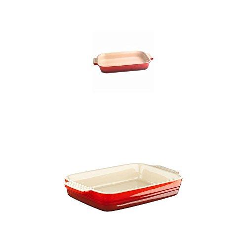 Le Creuset Steinzeug Auflaufform 3er Set rechteckig 24 x 32 cm & 17 x 26 cm, 13 x 18 cm, kirschrot