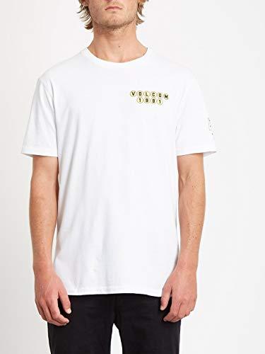 Volcom Elzo Durt FA SS Camiseta de Manga Corta, Hombre, White, XS