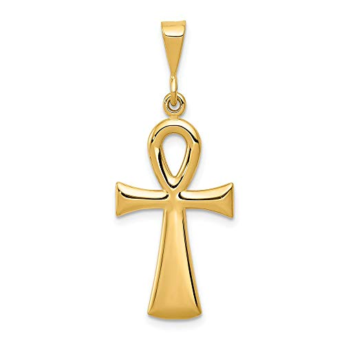 14k Yellow Gold Egyptian Ankh Cross Religious Pendant Charm Necklace Fine Jewellery For Women Gifts For Her