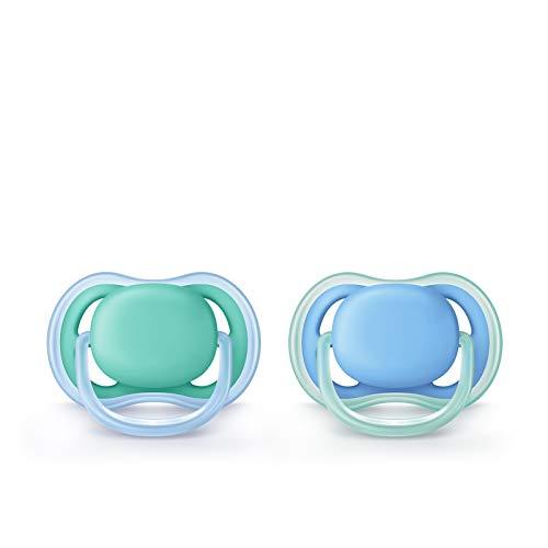 Philips Avent SCF244/22 ultra air fopspeen 6-18 maanden SCF244/22 dubbelpak, jongens, blauw/groen
