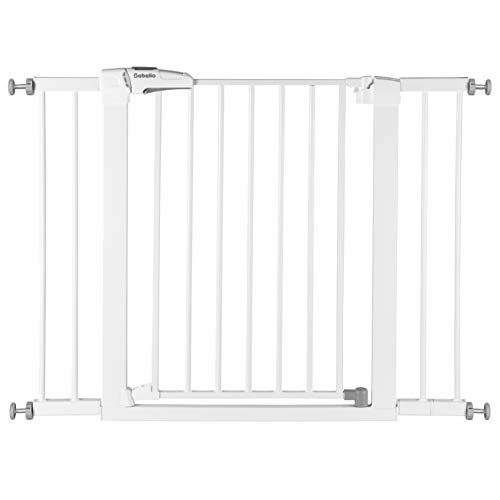 Babelio Baby Gate for Doorways and Stairs, 26-40 inches Dog/Puppy Gate, Easy Install, Pressure Mounted, No Drilling, fits for Narrow and Wide Doorways, Safety Gate w/Door for Child and Pets