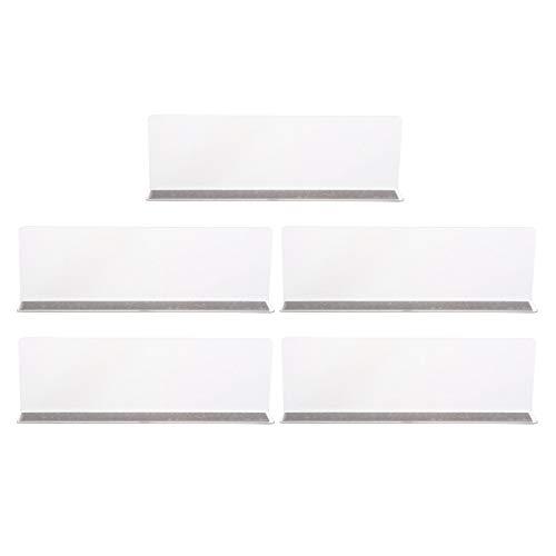 ULTECHNOVO - 5 unidades de separadores de plástico acrílico transparente para estanterías de cocina, estanterías, supermercado, biblioteca