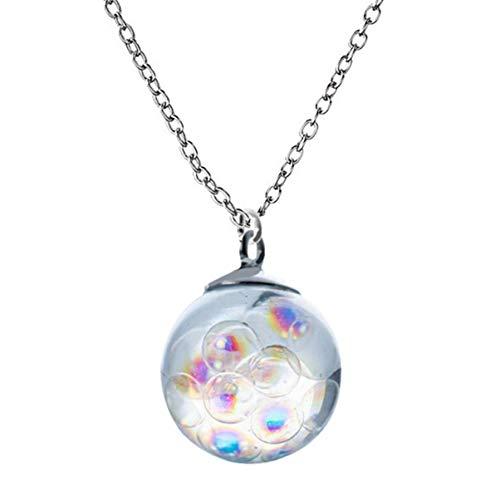 Happyyami Colorido Arco Iris Bola Colgante Collar Burbuja Transparente Esfera Cristal Collar Accesorio Collar Joyería Regalo para Damas Mujeres