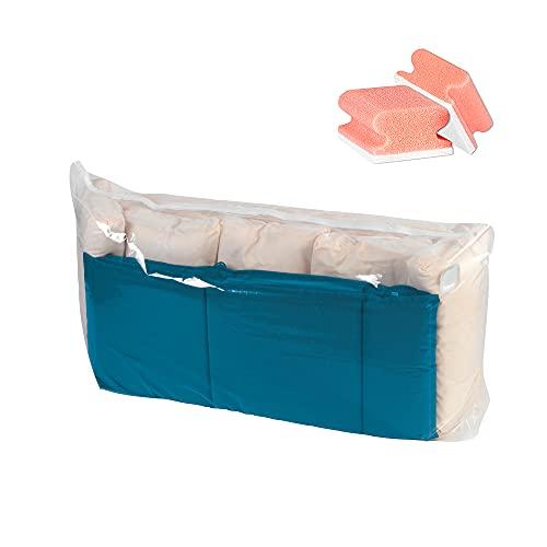 WENKO Vakuum Aufbewahrungsbeutel Jumbo Cube XXL – Vakuumbeutel für Kleidung, Bettwäsche, oder große Gegenstände, transparent, wiederverwertbar, inklusive GRATIS 2er Schwamm Set Rot/Weiß