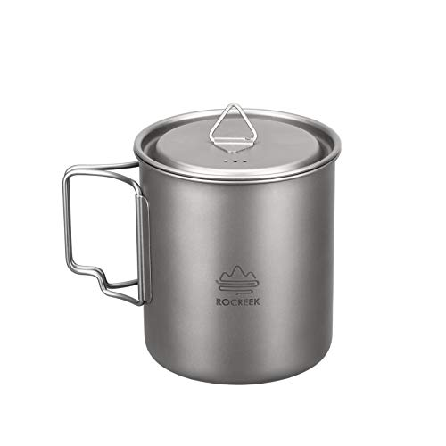 ROCREEK Titanium 750ml Pot with Lid Portable Mug for Backpacking Camping Open Fire