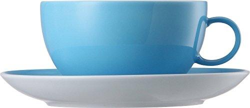 Thomas Sunny Day Tasse à Café avec Soucoupe, Porcelaine, Waterblue / Bleu, Passe au Lave-Vaisselle, 20 cl, 2 Pièces, 14740