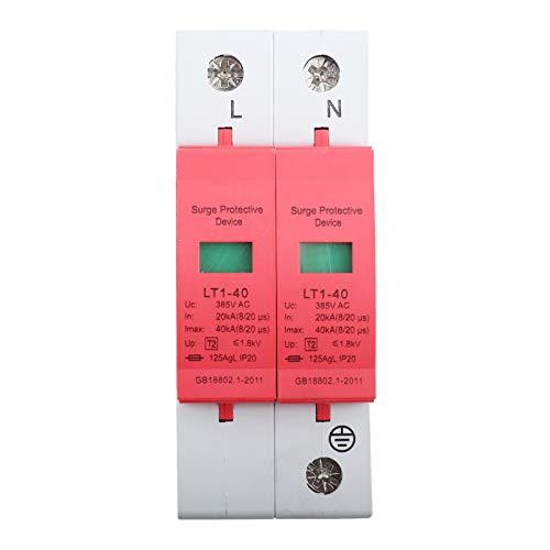 Haus Überspannungsschutz, 385 V Überspannungsschutz Telefon Lightning Tele Protector Niederspannungsschutz für alle Haushalts- und Bürozwecke, 40KA/65KA/80KA Nennstrom (2P 40KA)