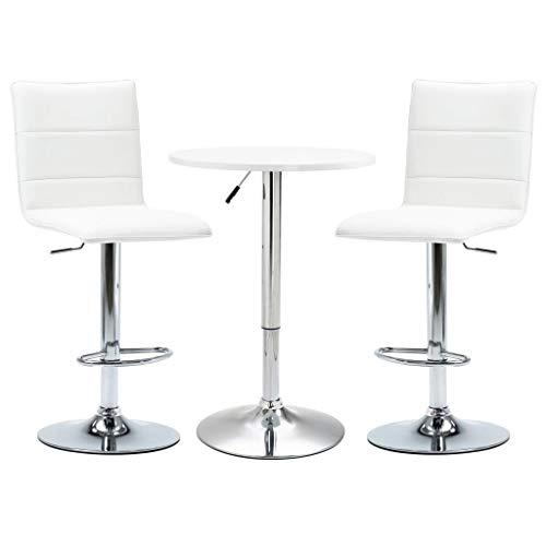 vidaXL 3 Piece Bar Set Pub Table and Chairs Bistro Furniture Counter Furniture Garden Restaurant Kitchen Faux Leather White