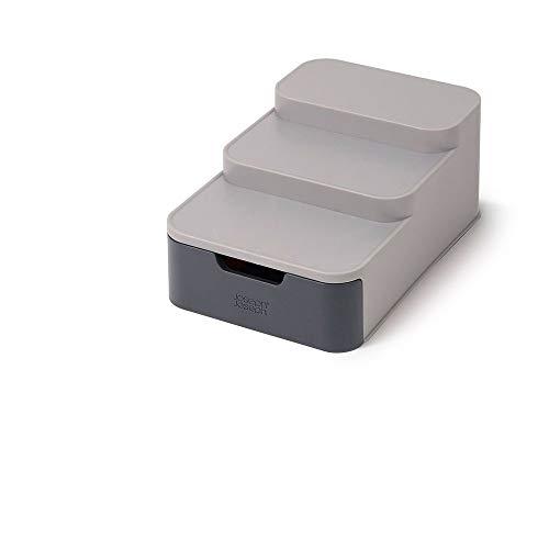 Organizador escalonado compacto con cajón en color gris CupboardStore de Joseph Joseph