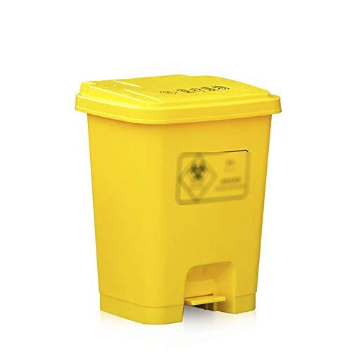 CSQ- Papelera De Reciclaje Al Aire Libre De 50 / 60L, Papelera De Plástico Grueso Con Tapa, Papelera De Reciclaje De Basura De Clínica De Hospital, Aula De Escuela, Fábrica(Size:60L,Color:Amarillo)