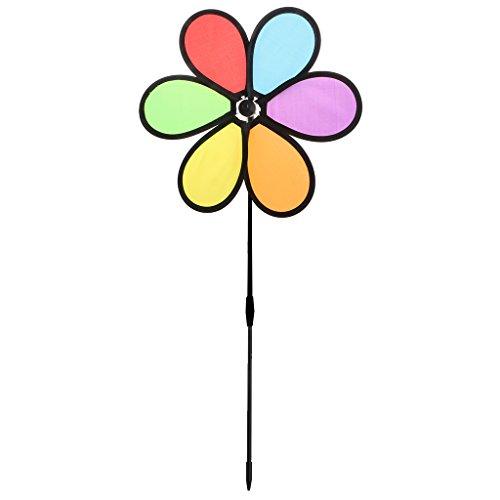 Kofun Wiel Spinner, Kleurrijke Regenboog Dazy Bloem Spinner Wind Windmolen Tuin Yard Outdoor Decor Zwarte Zes Kleuren Doek