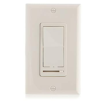 Maxxima 3-Way/Single Pole Decorative LED Slide Dimmer Rocker Switch Electrical light Switch 600 Watt max LED Compatible Wall Plate Included - Almond