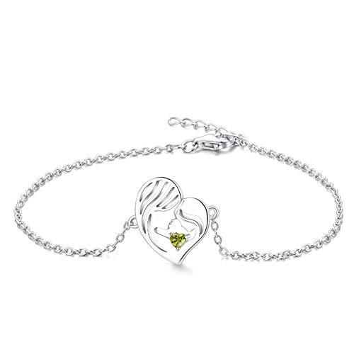 YL Pulsera Madre e Hija Plata de Ley 925 Pulsera de Corazón de Circonita Verde Peridoto Cortada para Mamá Mujer, Cadena 18-20CM