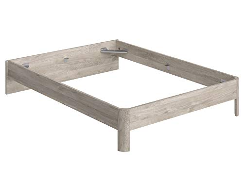 Marca Amazon -Movian Indre Modern - Base para cama de matrimonio con cabecero bajo, 194,5 x 144,5 x 31,7 cm (Efecto Roble)