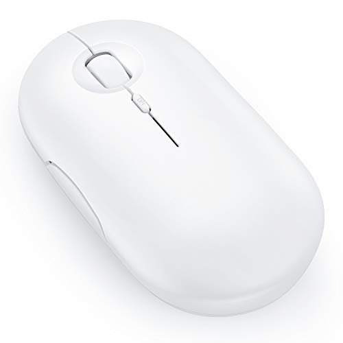 Rechargeable Bluetooth Mouse , seenda Wireless Dual Mode Mouse , 3 Adjustable DPI, USB-Type-C Cordless Mouse for iPad OS 13, MacBook, PC, Chromebook, PS4 Pro, PS5 (White)