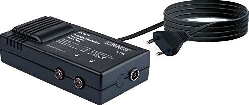 SCHWAIGER -BN8699 531- Zweigeräteverstärker für den Anschluss von TV, DVB-T, Radio auf Antennensteckdose BZW. Koax-Stecker/ 2X 18 dB/schwarz