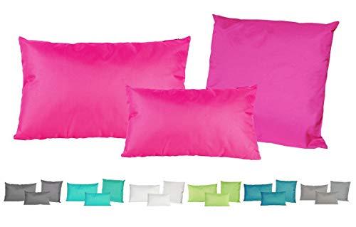 JACK Outdoor Lounge Kissen 3er Set Dekokissen Wasserfest Sitzkissen Garten Stuhl Lotus Effekt 30x50 + 40x60 + 45x45cm, Farbe:Pink