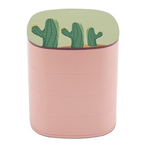 cajas de joyería para viajes Rotar la caja de joyería grande cactus planta decoración casos de joyería para collares y collares, cajas de joyería para almacenamiento protección caso suave