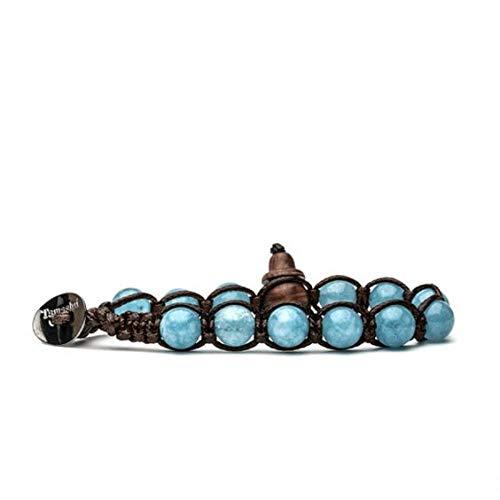 Pulsera original tibetana Tamashii, fabricada con piedras naturales de jade azul celeste