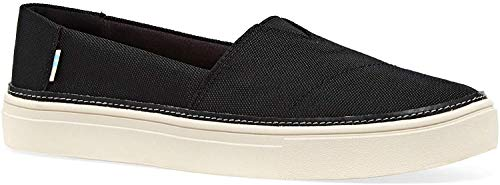 TOMS Womens Parker Slip-On Shoes Black Textured Woven, Size 6.5