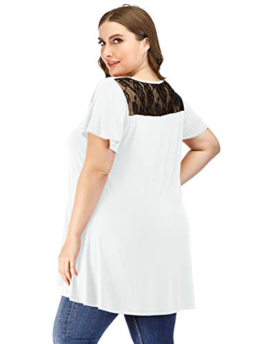 LARACE Women Tunic Tops for Leggings Plus Size V Neck Ruffle Short Sleeve Flowy Tee Shirt with Sexy Lace Back White