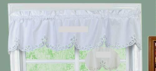 """Battenburg Lace Kitchen Curtain 14"""" L Valance Ecru Beige"""