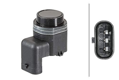 HELLA 6PX 358 141-221 Sensor, Einparkhilfe - gewinkelt - 3-polig - gesteckt - lackierbar - mit Befestigungsring