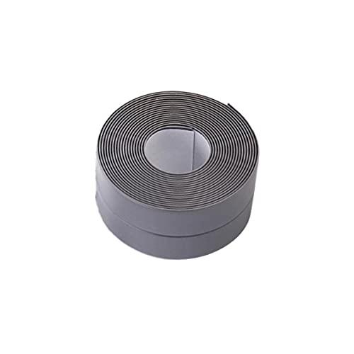 SOONHUA Caulk Strip PVC Flexible Self Adhesive Tape Waterproof Sealing Tape 3.2M Bumper Strip for Kitchen,Bathroom,Bathtub,Toilet,Wall Floor(Grey)