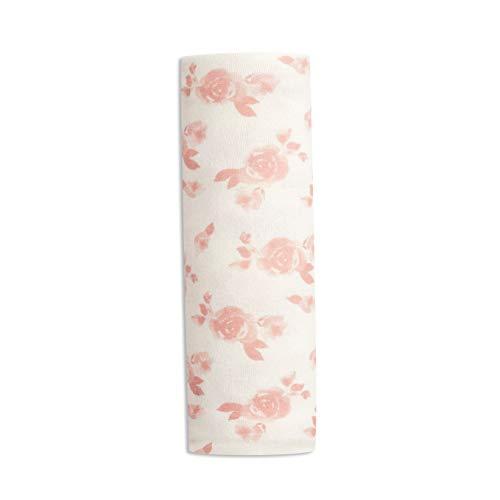 aden + anais - Lange en Maille Cosy - Maxi Lange Bébé - Couverture d'Emmaillotage pour Bébé Fille - Doux & Confortable - 75% Viscose, 21% Polyester, 3% Jersey d'Elasthanne - Blanc et Rose, 120x120 cm
