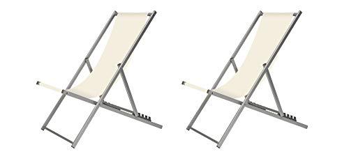 XONE Coppia Sdraio 5 Posizioni Bianco graffiato | 2 Sdraio Spiaggia Giardino in Alluminio e textilene, Dimensioni 102x58x93 cm