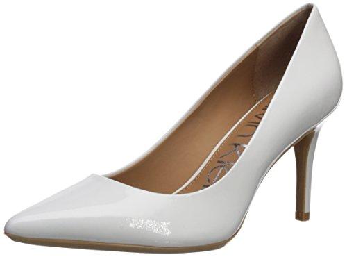 Calvin Klein Women's Gayle Pump, Platinum White Patent, 10 Medium US