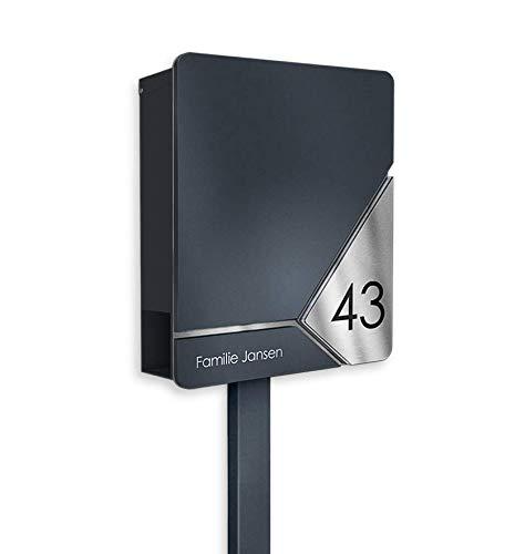 Metzler Standbriefkasten in Anthrazit RAL 7016 - Frontplatte aus massivem V2A Edelstahl - inkl. Beschriftung & Zeitungsfach - Briefkasten mit Briefkastenständer, Größe: 35,5 x 43,5 x 10 cm