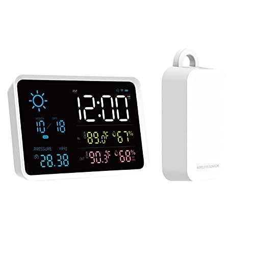 Estación meteorológica inalámbrica, estación meteorológica digital LCD, con sensor inalámbrico, barómetro/pronóstico/fase de luna/reloj de alarma (sin batería) (enchufe de la UE)