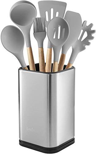 "Stainless Steel Kitchen Utensil Holder, Kitchen Caddy, Utensil Organizer, Modern Rectangular Design, 6.7"" by 4"" (utensils not included)"