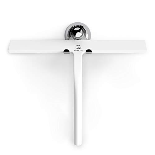 GÜTEWERK Duschabzieher Set mit Halterung - weiß 28 cm breit - ohne Bohren breiter Silikon Abzieher Dusche Bad Badezimmer Fenster Edelstahl Fensterabzieher Scheibenabzieher Saugnapf Haken Badabzieher