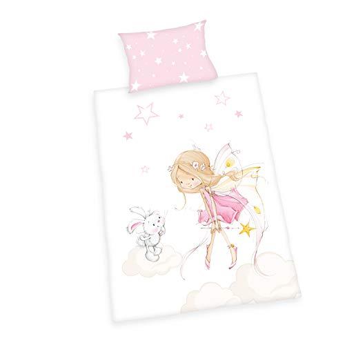 Herding Little-Fairy Bio Bettwäsche Set, GOTS zertifiziert, Wendemotiv, Kopfkissenbezug 40 x 60cm, Bettbezug 100 x 135cm, Baumwolle/Renforcé, Rosa/Mehrfarbig, 100x135