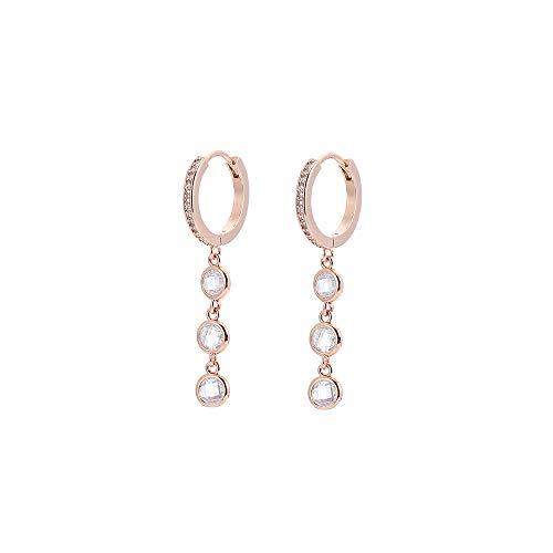 Orecchini pendenti in cristallo colorato da donna, orecchini a cerchio in argento anallergico e oro rosa con zircone (#1 Cristallo chiaro, Oro rosa)