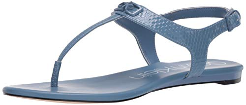 Calvin Klein Women's Flat Sandal, Stone Blue, 9
