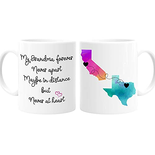Grandma Long Distance State Mug with Quote, Personalize, All states, Countries and Provinces