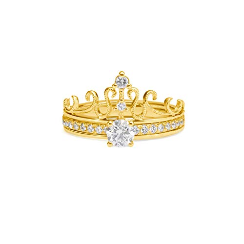 Women Hollow Crown Two-in-One Ring Princess Queen 14K Yellow Gold 1.8 Carat(ctw) Moissanite Promise Wedding Band Engagement Ring for Women 10K 18K White Gold for Women (10K Yellow Gold)