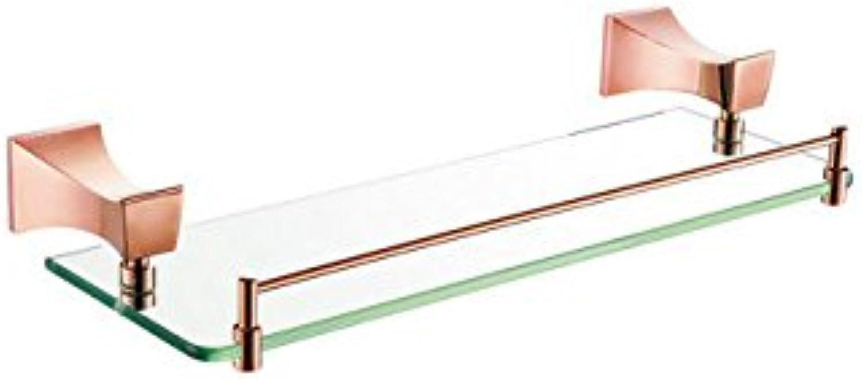 XAH@ Copper single layer glass shelf titanium gold 520 12511E pedestal bathroom accessories , 52015060mm