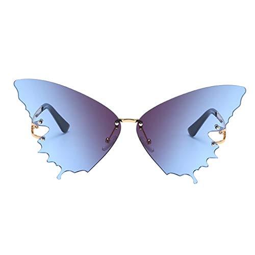 chiwanji Mariposa Gafas de Sol Marco de Metal Estilo Punk Verano Sin Montura Gafas de Sol Gafas - Azul Degradado