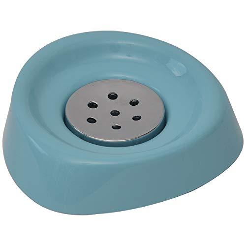 EVIDECO 6418147 - Jabonera para baño (cromo, 4,92 x 4,92 x 0,98 cm), color azul
