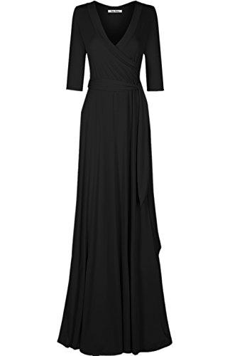 Bon Rosy Women's #MadeInUSA 3/4 Sleeve V-Neck Solid Maxi Wrap Dress Summer Wedding Guest Party Bridal Baby Shower Maternity Nursing Black M(DJ51504-S)