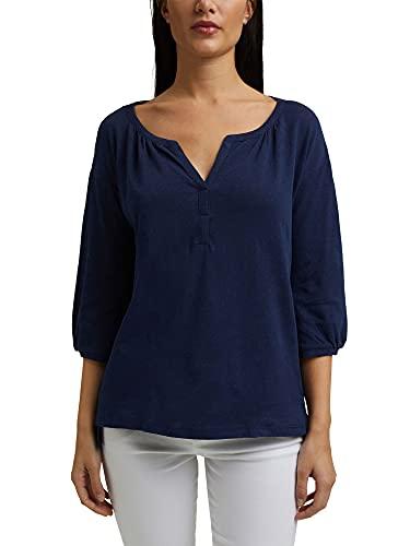 Esprit 041ee1k321 T-Shirt, Bleu foncé, S Femme