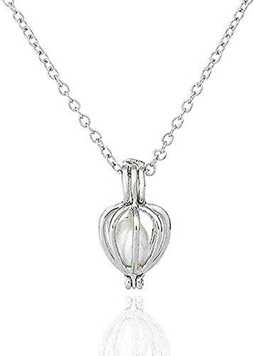 Collana Collana di perle Collana di fiori Collana con pendente a cuore vuoto per donna Collana con ciondolo regalo per ragazze per donna Uomo
