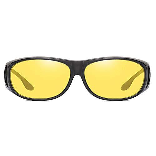 Raxinbang Gafas de Sol Material De PC Antideslumbrante UV400 Gafas De Sol Marco Negro Gris/Verde/Amarillo Lentes Hombres Y Mujeres con Las Mismas Gafas De Sol Polarizadas (Color : Yellow)
