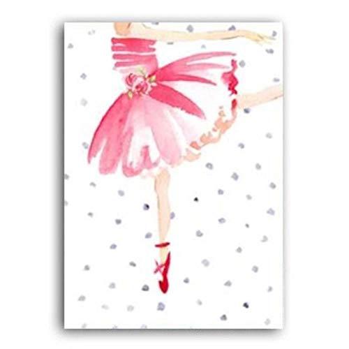 FFSMCQ Eenvoudig minimalistische mode ballerina canvas kleur salice schoenen roze persoonlijkheid wandafbeelding muurschildering decoratie slaapkamer 40x50 cm no frame C.