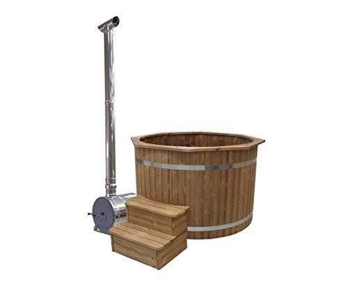 bambus-discount.com Bade Fass Set2 Standard mit Holzofen, Durch. 150cm - für Holzbadefass Badefässer Badefass für draussen Badetonne Hot Tubs Badebottich Holzbadewanne